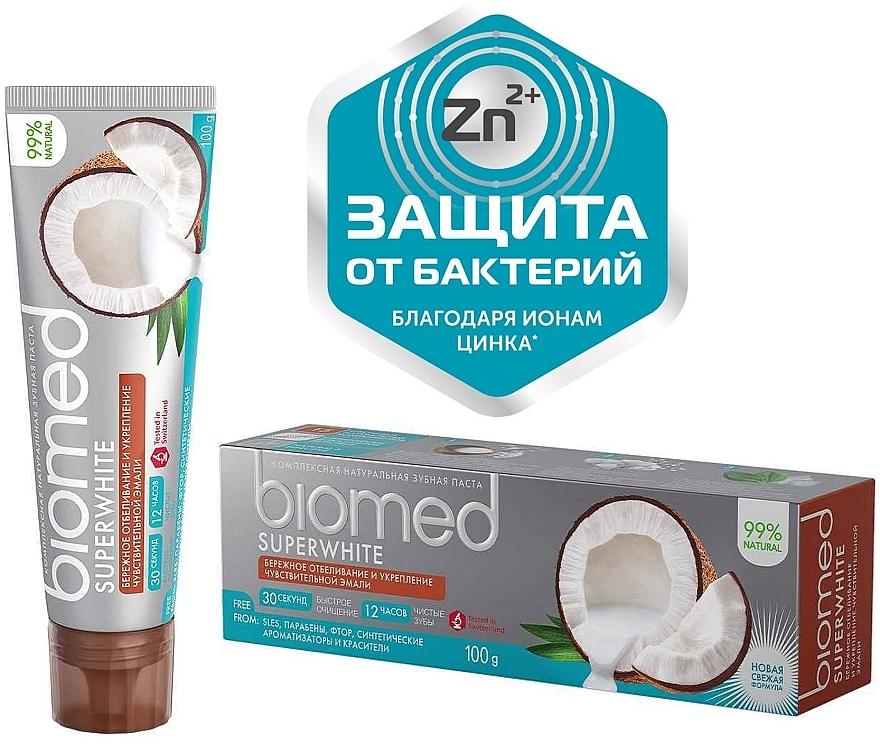 """Антибактериальная отбеливающая зубная паста для чувствительной эмали """"Кокос"""" - Biomed Superwhite"""