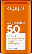 Духи, Парфюмерия, косметика Солнцезащитный стик для чувствительных участков лица - Clarins Stick Solaire Invisible SPF50