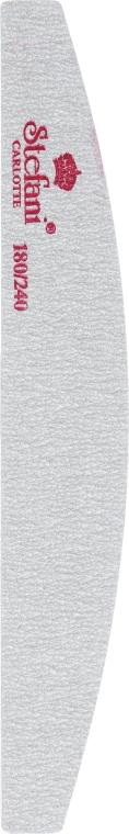 Пилочка для ногтей в форме полумесяца, серая, 180/240 - Stefani Carlotte