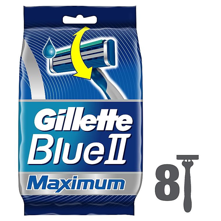 Набор одноразовых станков для бритья, 8шт - Gillette Blue II Maximum