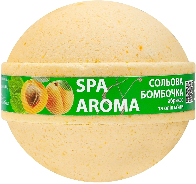 "Солевая бомбочка для ванн ""Абрикос и масло мяты"" - Bioton Cosmetics Spa Aroma Bath Bomb"