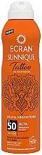 Духи, Парфюмерия, косметика Спрей для загара - Ecran Sunnique Tattoo Protective Mist SPF50