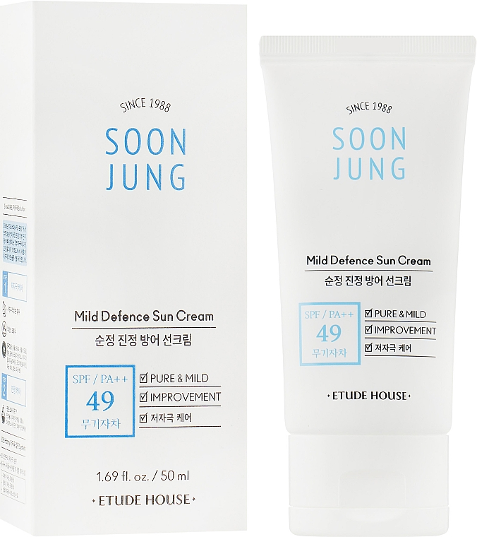 Солнцезащитный крем - Etude House Soon Jung Mild Defence Sun Cream SPF49 PA++