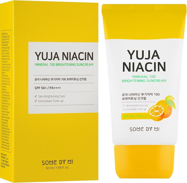 Осветляющий солнцезащитный крем SPF50+ - Some By Mi Yuja Niacin Mineral 100 Brightening Suncream