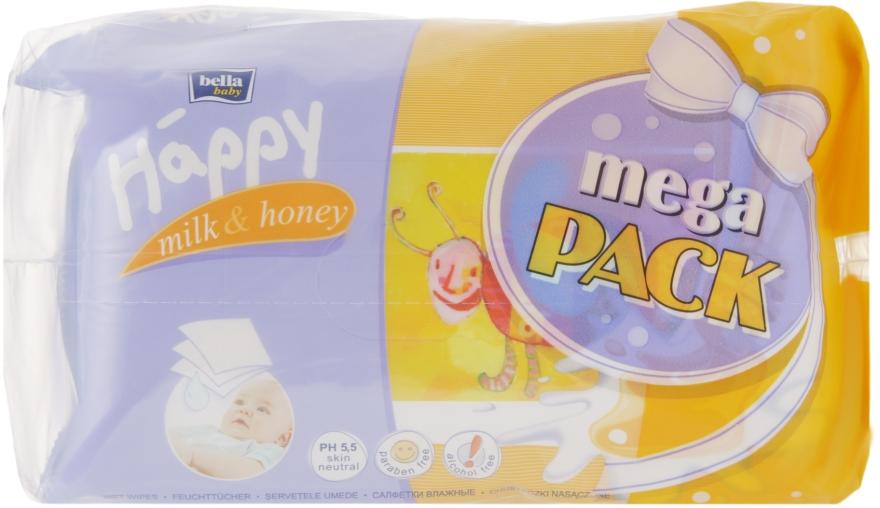 "Влажные салфетки ""Молоко и Мед"", 64x4 шт - Bella Baby Happy Milk & Honey Mega Pack"