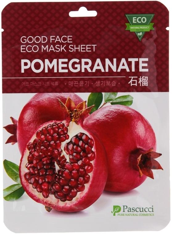 Маска для лица с экстрактом граната - Amicell Pascucci Good Face Eco Mask Sheet Pomegranate