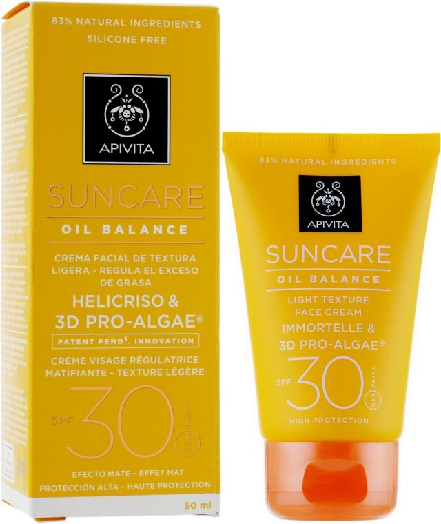 Солнцезащитный крем для лица легкой текстуры регулирующий секрецию сальных желез - Apivita Suncare Oil Balance Light Texture Face Cream SPF30