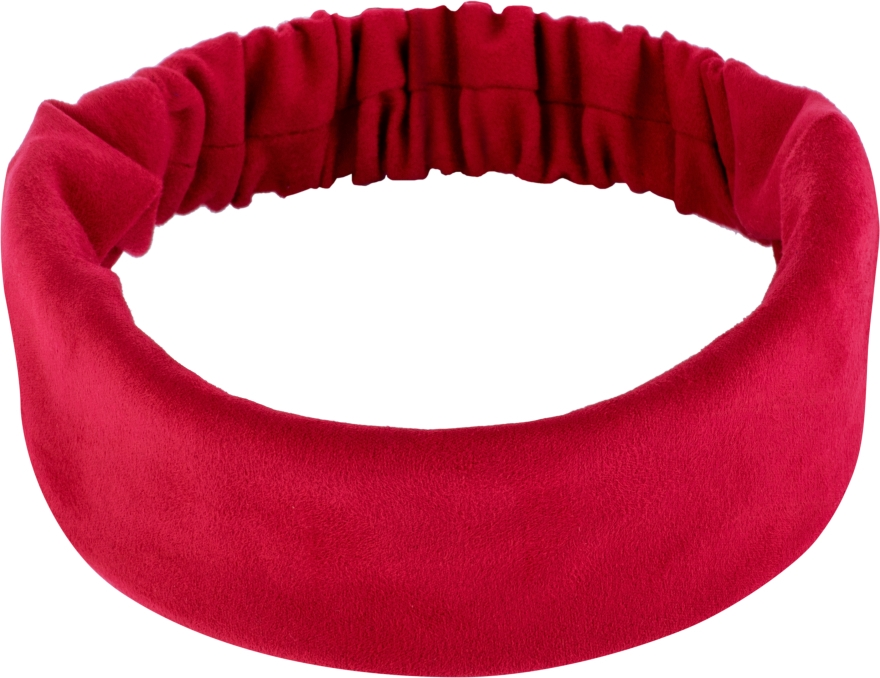 Повязка на голову, экозамша прямая, красная Suede Classic - Makeup Hair Accessories