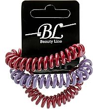 Духи, Парфюмерия, косметика Набор резинок для волос, 405004, бордовая+фиолетовая+бордовая - Beauty Line