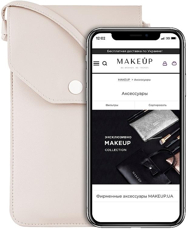 "Чехол-сумка для телефона на ремешке, бежевый ""Cross"" - Makeup Phone Case Crossbody Beige"