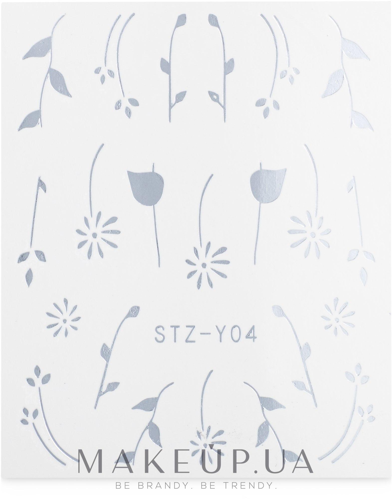 Водные наклейки для ногтей серебро, STZ - Vizavi Professional — фото STZ - Y004