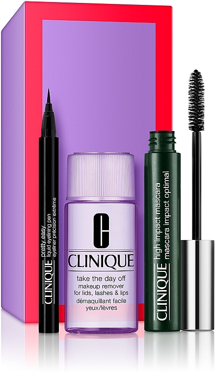 Набор - Clinique High Impact Favourites (mascara/7ml + remover/30ml + eye/liner/0.34g)