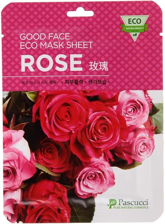 Маска для лица с экстрактом лепестков розы - Amicell Pascucci Good Face Eco Mask Sheet Rose