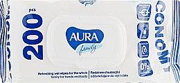 """Влажные салфетки """"Aura Family"""" освежающие, 200шт - Aura — фото N1"""