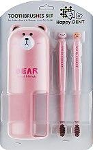 Духи, Парфюмерия, косметика Набор зубных щеток для детей 6-16 лет, розовый - Happy Dent Baby Soft