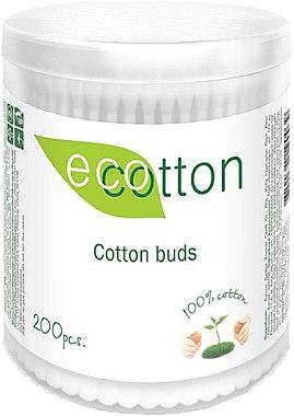 Ватные палочки в круглой банке, 200шт - Ecotton Cotton Buds