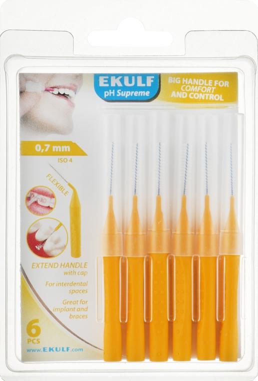 Щетки для межзубных промежутков, 0.7 мм, желтые - Ekulf Ph Supreme