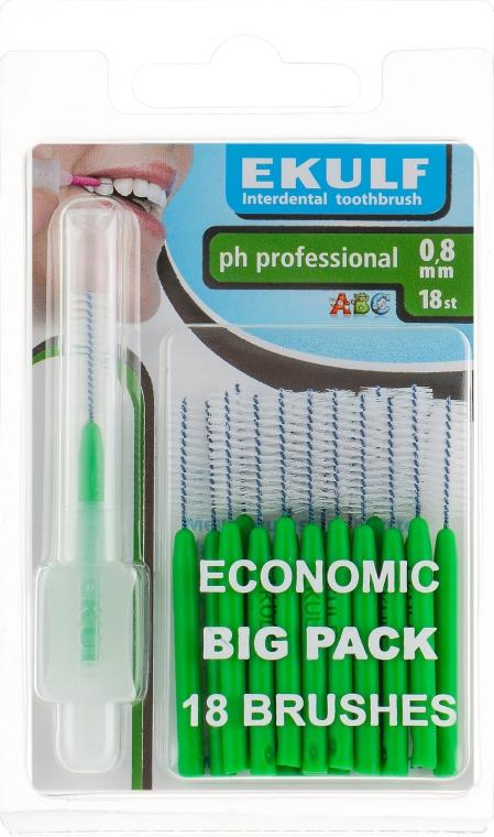 Щетки для межзубных промежутков, 0.8 мм, цилиндрические, зеленые - Ekulf Ph Professional