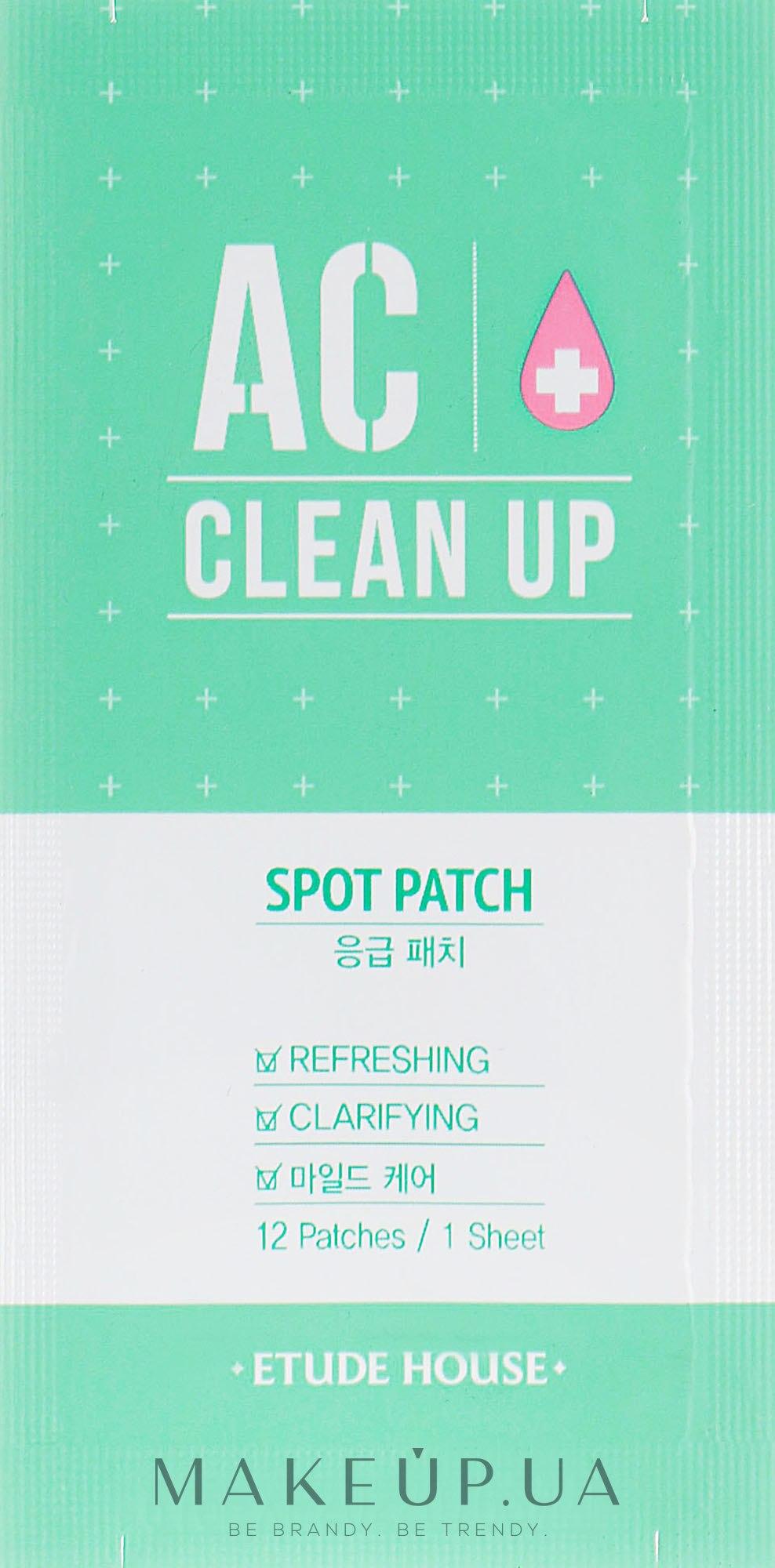 Точечные пластыри от воспалений - Etude House AC Clean Up Spot Patch  — фото 12шт