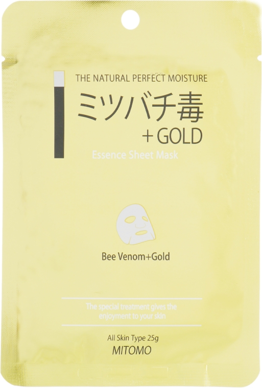 """Тканевая маска для лица """"Золото и Пчелиный Яд"""" - Mitomo Essence Sheet Mask Bee Venom + Gold"""