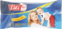 Духи, Парфюмерия, косметика Влажные салфетки для детей с экстрактом ромашки, 63 шт - Lili