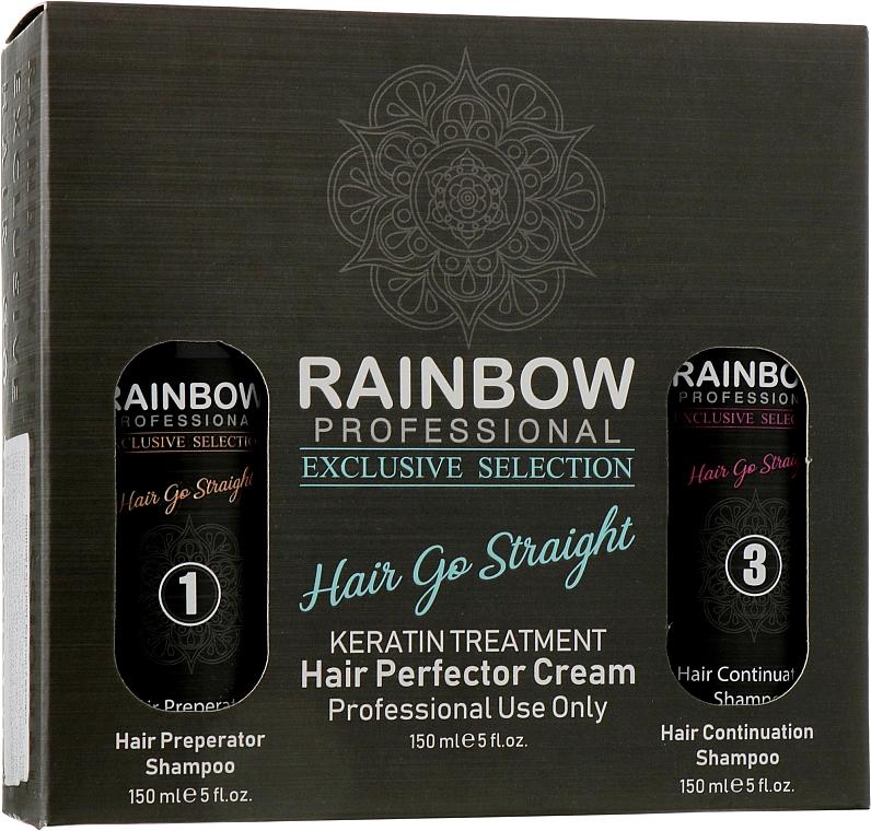 Набор для выпрямления волос - Rainbow Professional Exclusive Hair Go Straight (keratin/150ml + smp/150ml + smp/150ml)