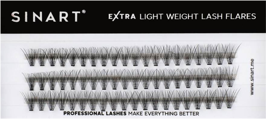 Ресницы пучковые, 12 мм - Sinart Extra Light Weight Lash