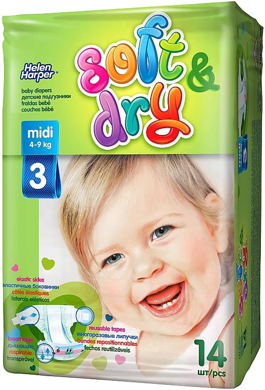 Детские подгузники Soft&Dry Midi (4-9 кг, 14 шт) - Helen Harper