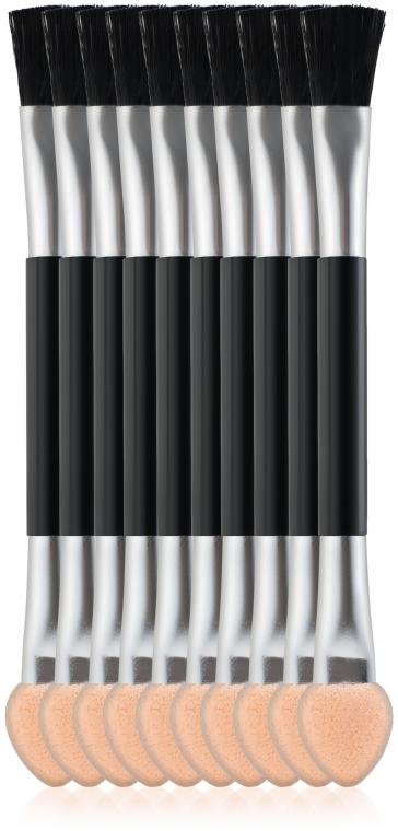 Аппликаторы для теней двусторонние SA-13, 7,5 см, 10шт, с широкой кистью - Silver Style
