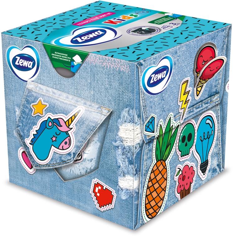 "Салфетки косметические трехслойные ""Kids"", джинсы, 60шт - Zewa Kids 3D Box — фото N1"