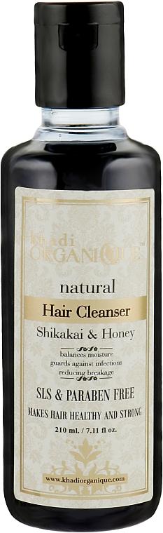"""Натуральный травяной бессульфатный аюрведический шампунь """"Шикакай и Мед"""" - Khadi Organique Shikakai Honey Hair Cleanser"""