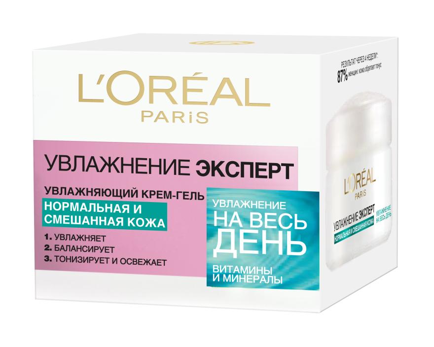 """Крем-гель для лица """"Увлажнение Эксперт"""", для нормальной и смешанной кожи - L'Oreal Paris"""