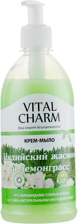 """Крем-мыло """"Индийский жасмин и лемонграсс"""" с дозатором - Vital Charm"""