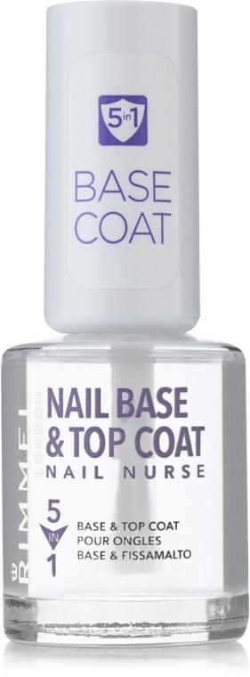 Лак-основа и закрепитель для ногтей - Rimmel Nail Nurse 5 in 1 Nail Base & Top Coat