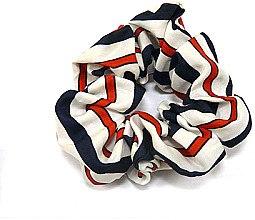 Духи, Парфюмерия, косметика Резинка для волос P0013-8, 11 см, белая с синим и красным - Akcent