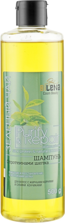 "Шампунь ""Зеленый чай"" с протеинами шелка - Bilena Silk Protein & Natural Extract"