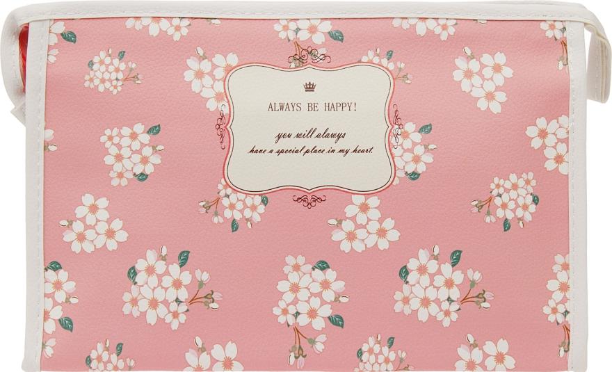 "Косметичка ""Always be happy"", розовая с белыми цветами - Элита"