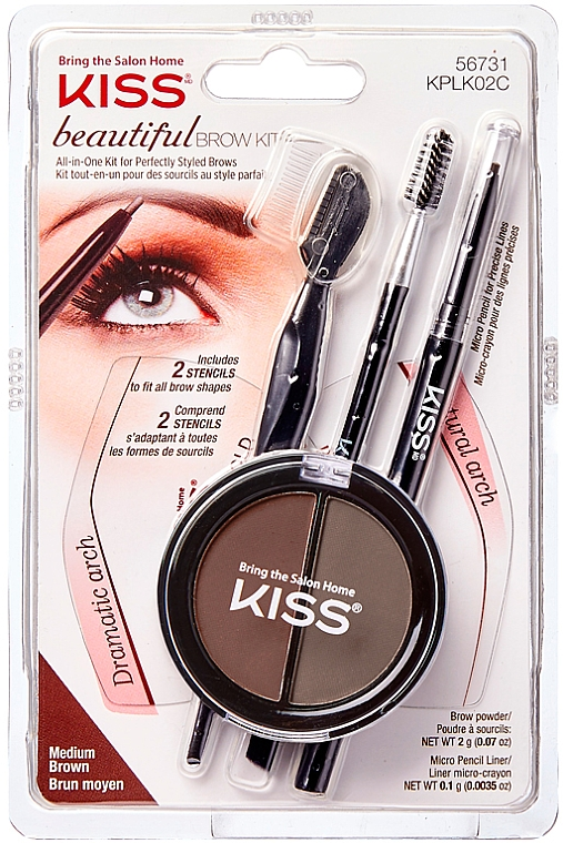 Набор для моделирования бровей - Kiss Beautiful Brow Kit