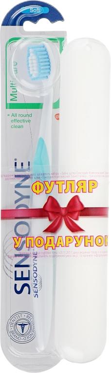 Зубная щетка с мягкой щетиной + футляр, бело-голубая - Sensodyne Multicare Soft
