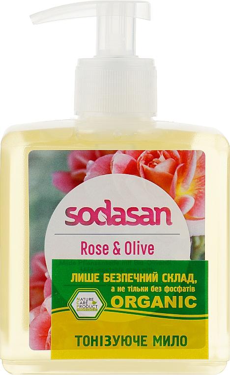 Жидкое мыло тонизирующее с розовым и оливковым маслами - Sodasan Liquid Rose-Olive