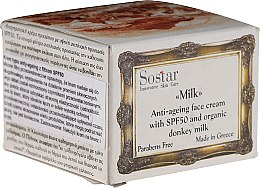 Духи, Парфюмерия, косметика Антивозрастной крем для лица - Sostar Anti-Ageing Face Cream SPF50 with Donkey Milk
