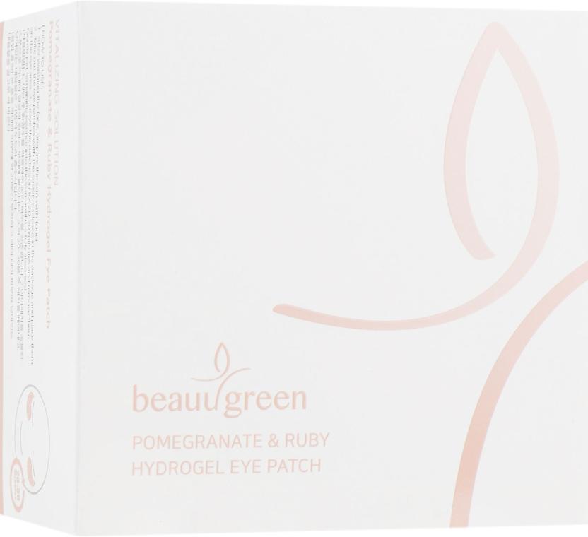 Гидрогелевые патчи с экстрактом граната и рубиновой пудрой, стандартный размер - BeauuGreen Pomegranate & Ruby Hydrogel Eye Patch