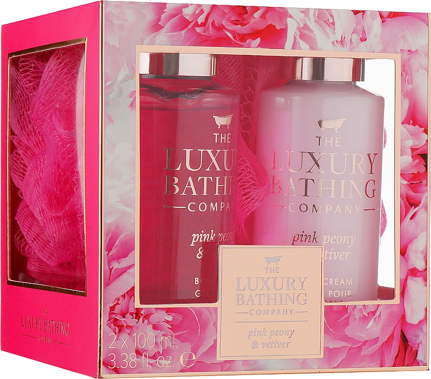 Набор - Grace Cole Pink Peony & Vetiver Graceful (sh/gel/100ml+b/cr/100ml+washcloth)