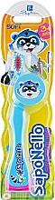 Духи, Парфюмерия, косметика Детская зубная щетка, мягкая 3+, голубая - SapoNello
