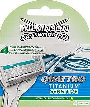 Духи, Парфюмерия, косметика Сменные лезвия, 4 шт - Wilkinson Sword Quattro Titanium Sensitive