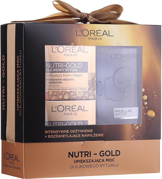 Набор - Loreal Nutri Gold (cr/mask/50ml + cr/oil/50ml + micellar/200ml)