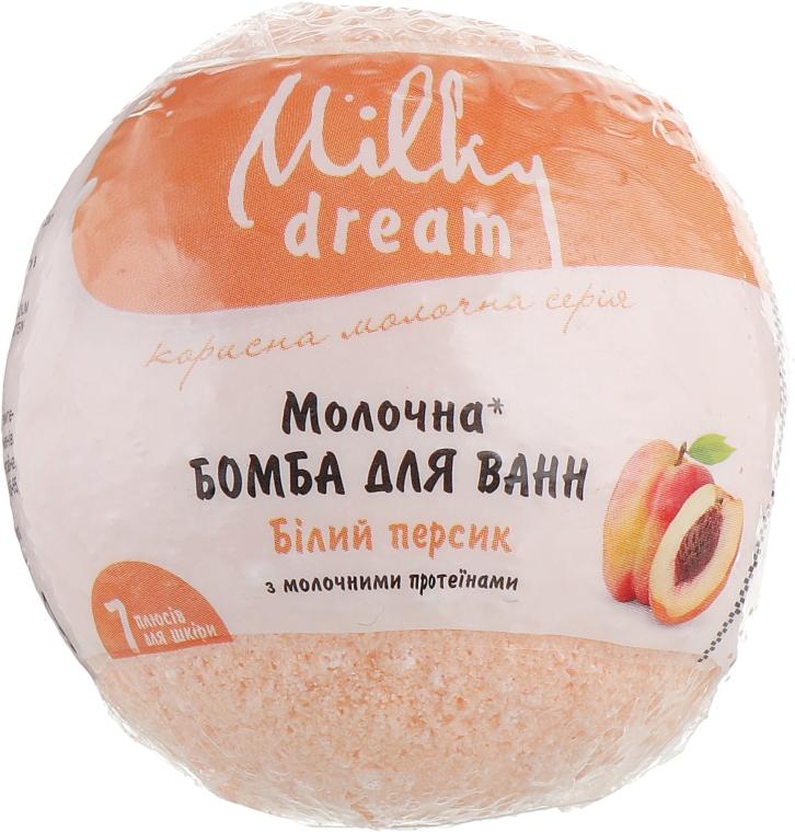 "Бомба для ванн ""Белый персик"" с молочными протеинами - Milky Dream"