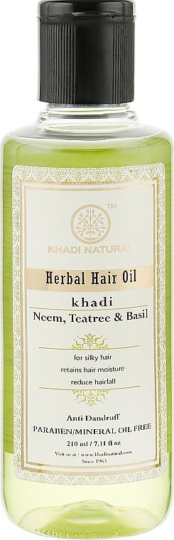 """Натуральное масло против перхоти, ломкости и выпадения волос """"Ним, Чайное дерево и Базилик"""" - Khadi Organique Henna Rosemary Hair Oil"""