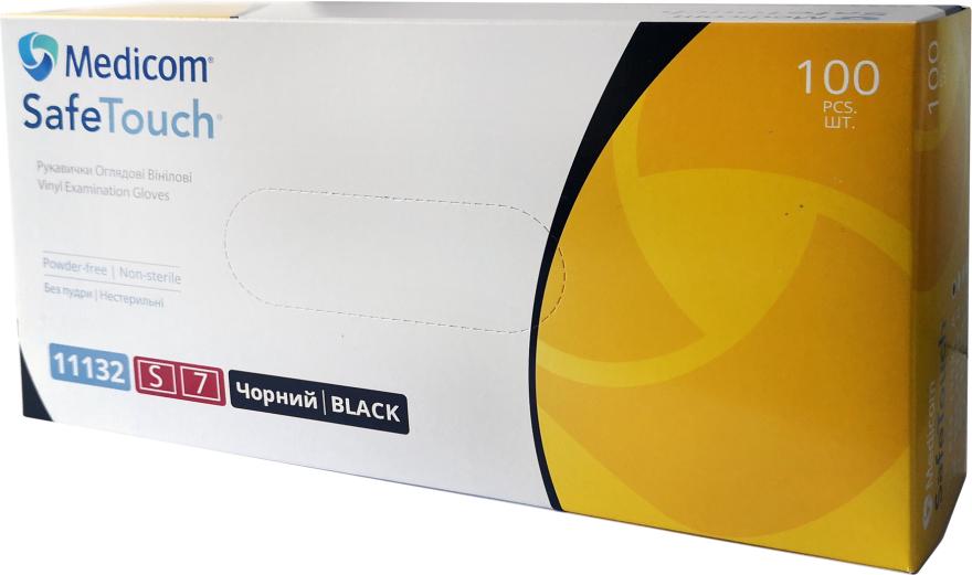 Перчатки виниловые, без пудры, черные, размер S - Medicom Safe Touch Vinyl Examination Gloves