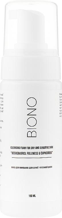 """Пенка для умывания для сухой и чувствительной кожи - Biono Cleansing Foam For Dry And Sensitive Skin """"Resveratrol Fullness & Euphorbia"""""""